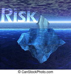 Floating Iceberg in the Blue Ocean with Risk Text