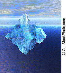 Floating Iceberg in the Open Ocean with Horizon During the...
