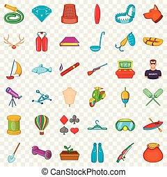Floating icons set, cartoon style