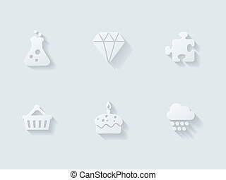 Floating Icons with Long Shadow