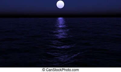 Floating in the Ocean on a Moonlit
