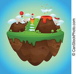 Floating island - Cartoon Illustration