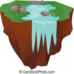 Floating island with falling water vector illustration