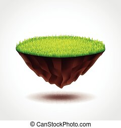 Floating island with green grass photo realistic vector...