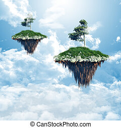 Floating islands in the clouds - 3D render of floating...