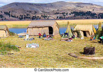 Floating Islands on Lake Titicaca Puno, Peru, South America...