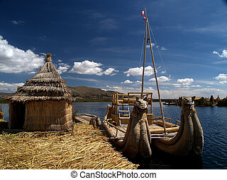The Uros floating islands on the Lake Titicaca