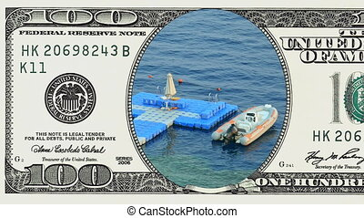 Floating jetty dock in frame of 100 dollar bill