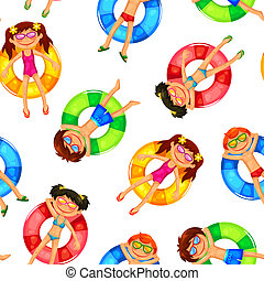 seamless pattern with kids on inflatable rings