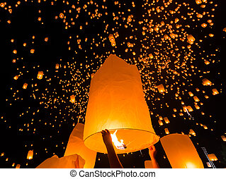 Floating lantern at Chiang Mai Province, Asia Thailand
