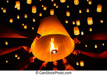 Floating lantern festival, Yi Peng in Chiang mai, Thailand