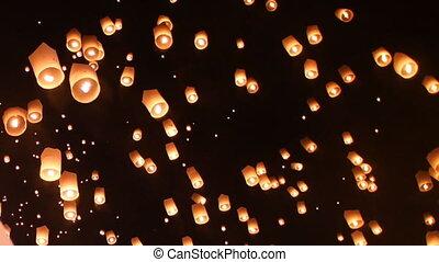 Floating lantern festival(yee peng lanna)in Chiang Mai,...