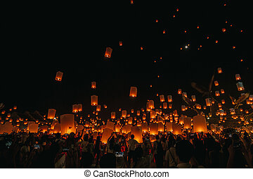 Floating lantern in night Chiang mai Thailand