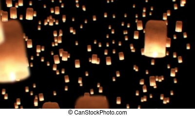 Floating Lanterns in Yee Peng Festival. Loy Krathong Celebration in Chiangmai, Thailand. Beautiful 3d animation. HD 1080.