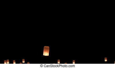 Floating Lanterns in Yee Peng Festival. Loy Krathong Celebration in Chiangmai, Thailand. Beautiful 3d animation. Start of the Festival.