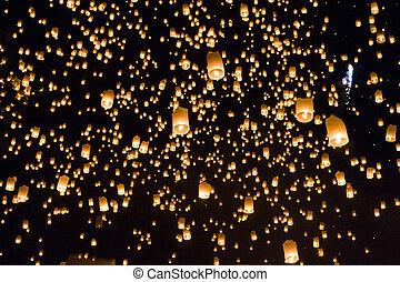 Floating lanterns yeepeng or loi krathong festival at Chiang...