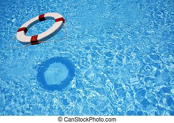Floating Lifebealt - Safety lifebelt floating in bright blue...