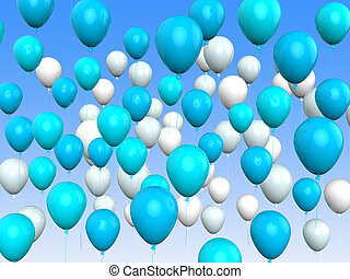 Floating Light Blue And White Balloons Mean Argentinean Flag...