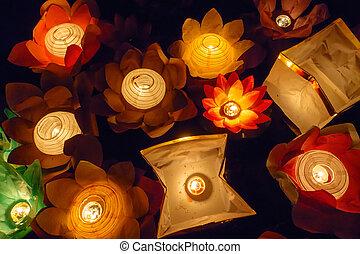 Floating Lotus Flower Paper Lanterns On Water