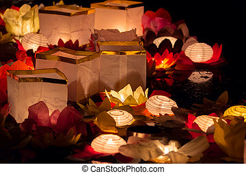 Floating Lotus Flower Paper Lanterns On Water