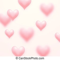 Floating Love Hearts Pink Background