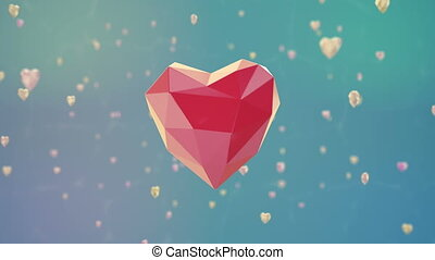 Floating low poly heart with luma matte. Loopable 3d...