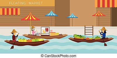 Floating Market, Boat, Travel