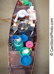 Floating Market in Ayutthaya Thailand.
