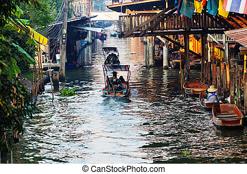Floating market in the Thailand.