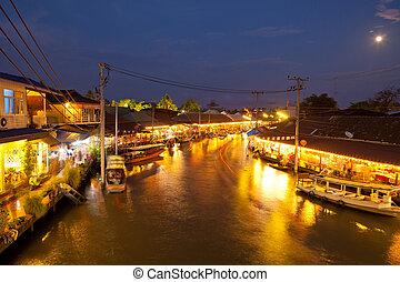 Floating market on night, Amphawa Thailand