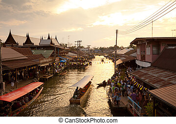 Floating market on sunset, Amphawa Thailand