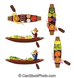 Floating Market Seller Object Set - Boat, Food, Flowers,...