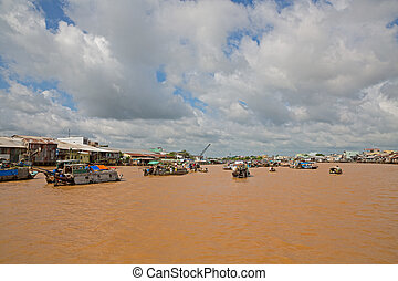 Floating market - Wide angle view of mekong river and ...