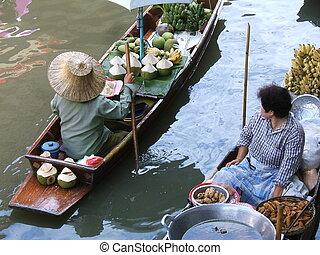 Floating market - Women selling foods in a floating market ...