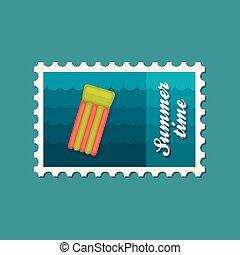 Floating mattress on beach flat stamp