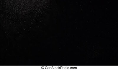 Floating miniature dust particles are soaring on a black...