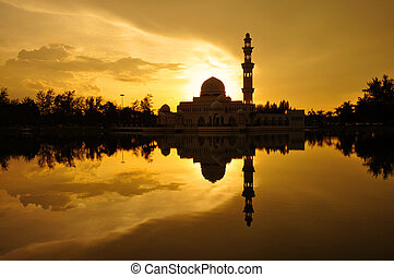 Floating Mosque in Kuala Terengganu, Malaysia with reflection