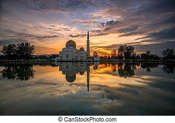 Floating Mosque Reflection at Sunrise