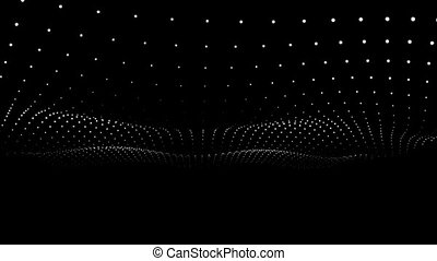 Floating movement with white round dots on a black background