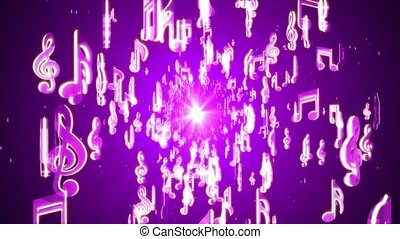 Floating musical Note Symbols in random fashion with neon Colors. For event, concert, title, festival, presentation, music videos, art, show, party, Award. 4K 3D Loop Animation New Motion Background.