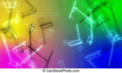 Floating objects on colorful background