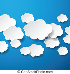Floating Paper Clouds Background - Vector floating paper...