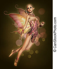 Floating Pink Fairy, 3d CG - 3d computer graphics of a...