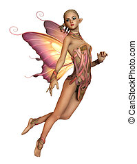 Floating Pink Fairy, 3d CG CA - 3d computer graphics of a...