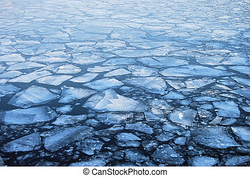 Floating plates of ice
