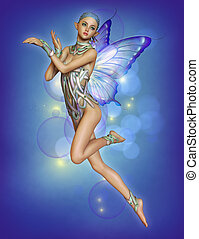 Floating Purple Fairy, 3d CG - 3d computer graphics of a...
