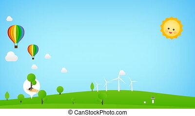Floating rainbow balloon with eco icon popup for nature saving and ecology concept with green field and blue sky