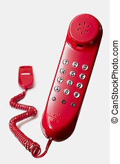 floating red telephone isolated on white background