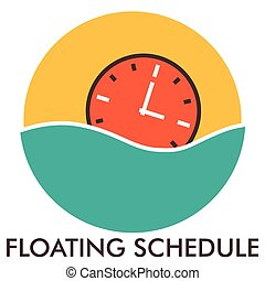 Floating schedule. Time. Clock. Line icon with flat design elements. Flat icon. Flat Design. Icon concept.