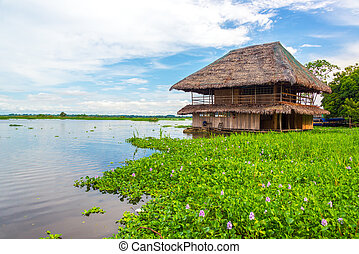 Floating Shack on the Amazon River - Old wooden shack...